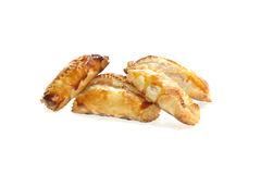 Puff pastry. With wurstel on white Royalty Free Stock Photo