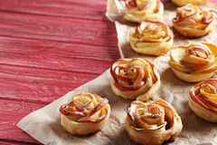 Puff pastry with apple shaped roses Stock Images