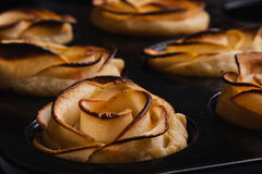 Puff pastry with apple shaped roses Royalty Free Stock Images