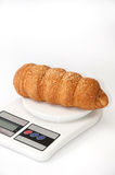 Puff pastry from bakery on a digital scale Stock Photography