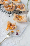 Puff pastry baskets with fruits Royalty Free Stock Photos