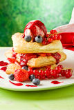 Puff pastry with berries and ice cream Royalty Free Stock Image