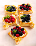 Puff pastry cakes with cream filling Royalty Free Stock Photography