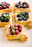 Puff pastry cakes with cream filling Stock Photo