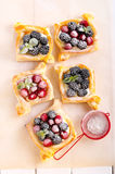 Puff pastry cakes with cream filling Stock Photography