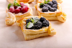 Puff pastry cakes with cream filling Stock Photos