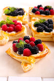 Puff pastry cakes with cream filling Royalty Free Stock Photo