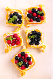 Puff pastry cakes with cream filling Royalty Free Stock Image