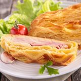 Puff pastry with cheese and bacon Stock Photography