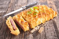 Puff pastry with cheese and bacon Stock Images