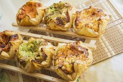 Puff pastry with cheese, spinach and chicken Stock Image