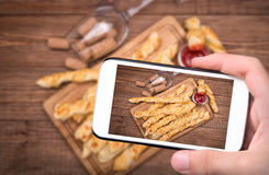 Puff pastry cheese twists. Stock Photos