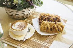 Puff pastry with chocolate and cappucino Stock Photo