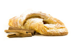 Puff pastry with cinnamon isolate on white Royalty Free Stock Photos