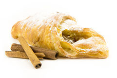Puff pastry with cinnamon isolate on white Royalty Free Stock Photography