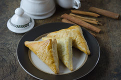 Puff pastry with cinnamon sticks Royalty Free Stock Photography
