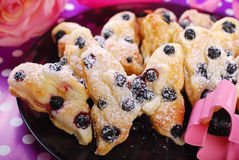 Puff pastry cookies with blueberry in butterfly shape Stock Photos