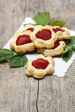 Puff pastry cookies filled with fresh strawberries Stock Images