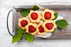 Puff pastry cookies filled with fresh strawberries Royalty Free Stock Photography