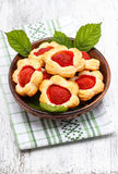 Puff pastry cookies filled with fresh strawberries Stock Image