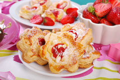 Puff pastry cookies with strawberry and almonds Stock Image
