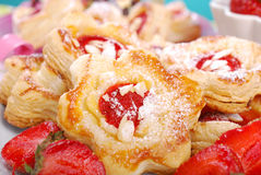 Puff pastry cookies with strawberry and almonds Royalty Free Stock Images