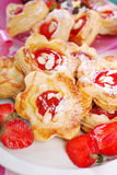 Puff pastry cookies with strawberry and almonds Royalty Free Stock Photo