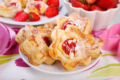 Puff pastry cookies with strawberry and almonds Stock Photo