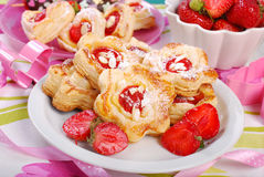 Puff pastry cookies with strawberry and almonds Stock Images