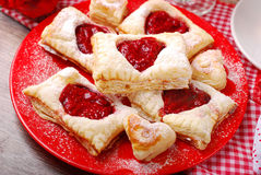 Puff pastry cookies for valentine party Royalty Free Stock Image