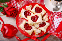 Puff pastry cookies for valentine party Stock Photo