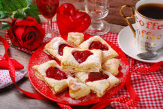 Puff pastry cookies for valentine party Stock Image