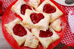 Puff pastry cookies for valentine party Royalty Free Stock Photography