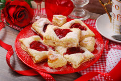 Puff pastry cookies for valentine party Royalty Free Stock Photos