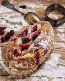 Puff pastry with cranberry jam Stock Photos