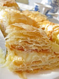 Puff pastry with cream. Close view of puff pastry with cream Royalty Free Stock Photography