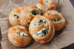 Puff pastry. Filled with spinach and cheese Stock Image