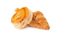 Puff pastry and Fresh croissants on white background. Royalty Free Stock Image