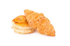 Puff pastry and Fresh croissants on white background Royalty Free Stock Photography