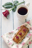 Puff pastry with fresh raspberries. And  a cup of tea Stock Images