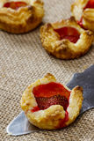 Puff pastry with fresh ripe strawberries Stock Image
