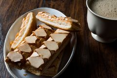Puff Pastry Glazed Italian Biscuits with Cappuccino Coffee / Sfogliatine. Stock Image