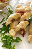 Puff pastry with ham Stock Photos