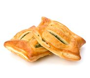 Puff pastry. Healthy pasty with spinach. Royalty Free Stock Photo