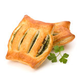 Puff pastry. Healthy pasty with spinach. Stock Image