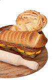 Puff pastry with a hot dog in a wicker basket Stock Photo