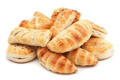 Puff pastry isolated on white. Croissants and other puff pastry isolated on white background Royalty Free Stock Image