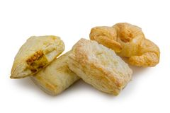 Puff pastry isolated on white background. File contains a clipping path. Royalty Free Stock Photography