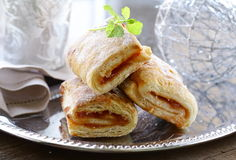 Puff pastry with jam Royalty Free Stock Photo