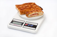 Puff pastry on the kitchen scale Stock Photos